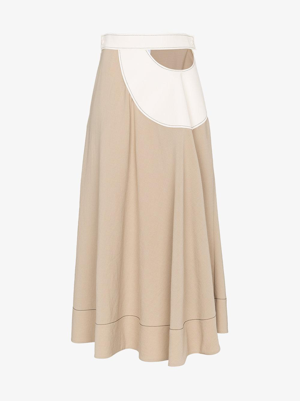 Loewe Cut Out Leather Insert Midi Skirt Best Sale Cheap Price Buy Online With Paypal Cheap Geniue Stockist Cheap Buy C2rbONS