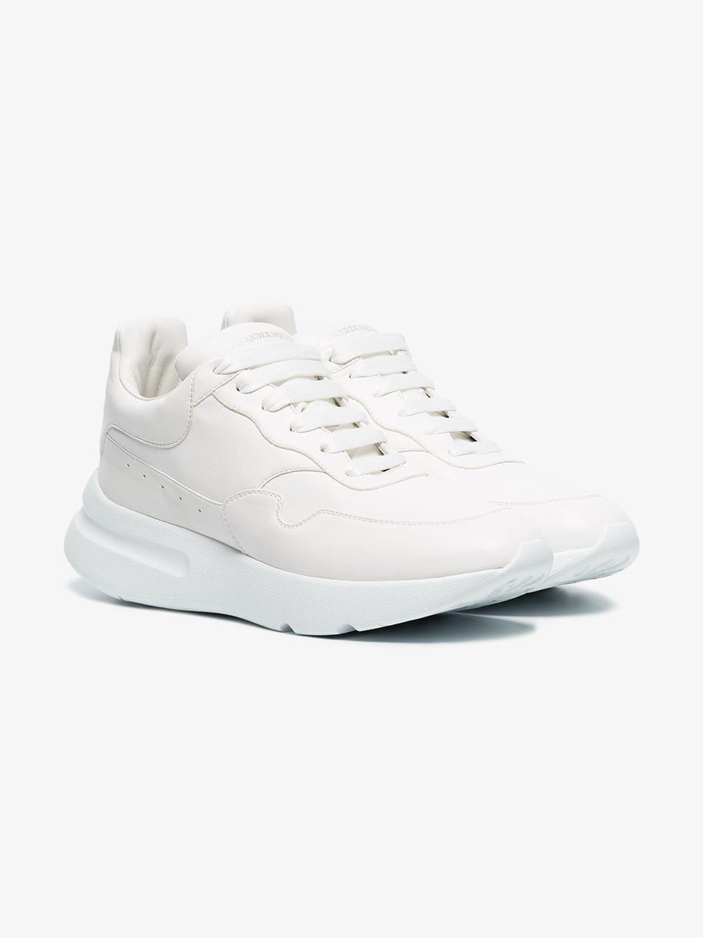 d105181a1192 Alexander McQueen Optical White Runner Oversized Leather Sneakers in White  for Men - Lyst