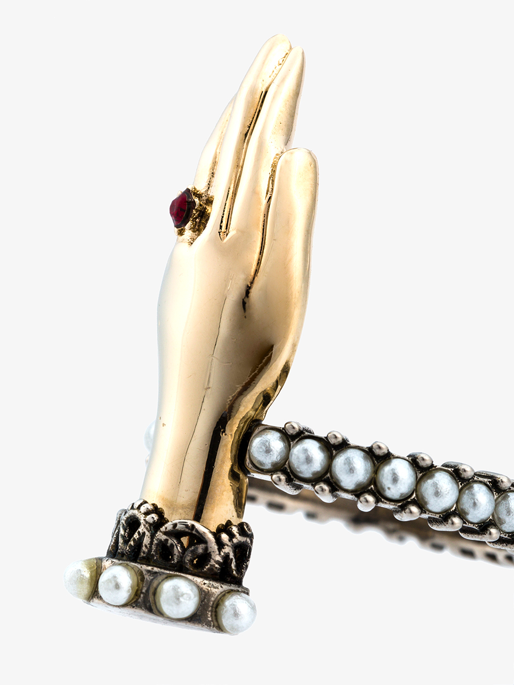 Lyst Alexander Mcqueen Hand Ring In Metallic
