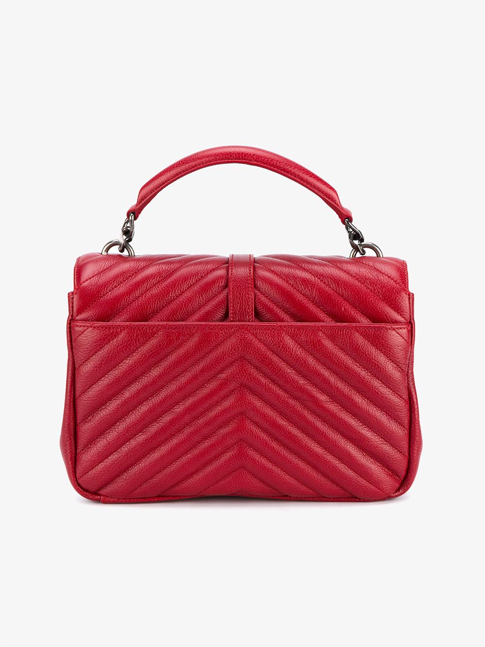 2eb4e8672436 Saint Laurent Medium Leather Monogram College Bag in Red .