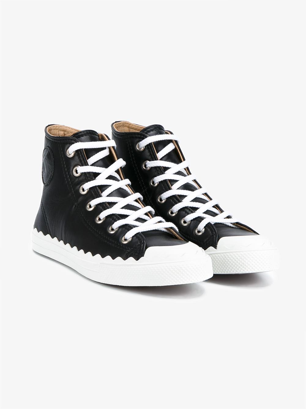 chlo 39 kyle 39 hi top sneakers in black save 56 lyst. Black Bedroom Furniture Sets. Home Design Ideas