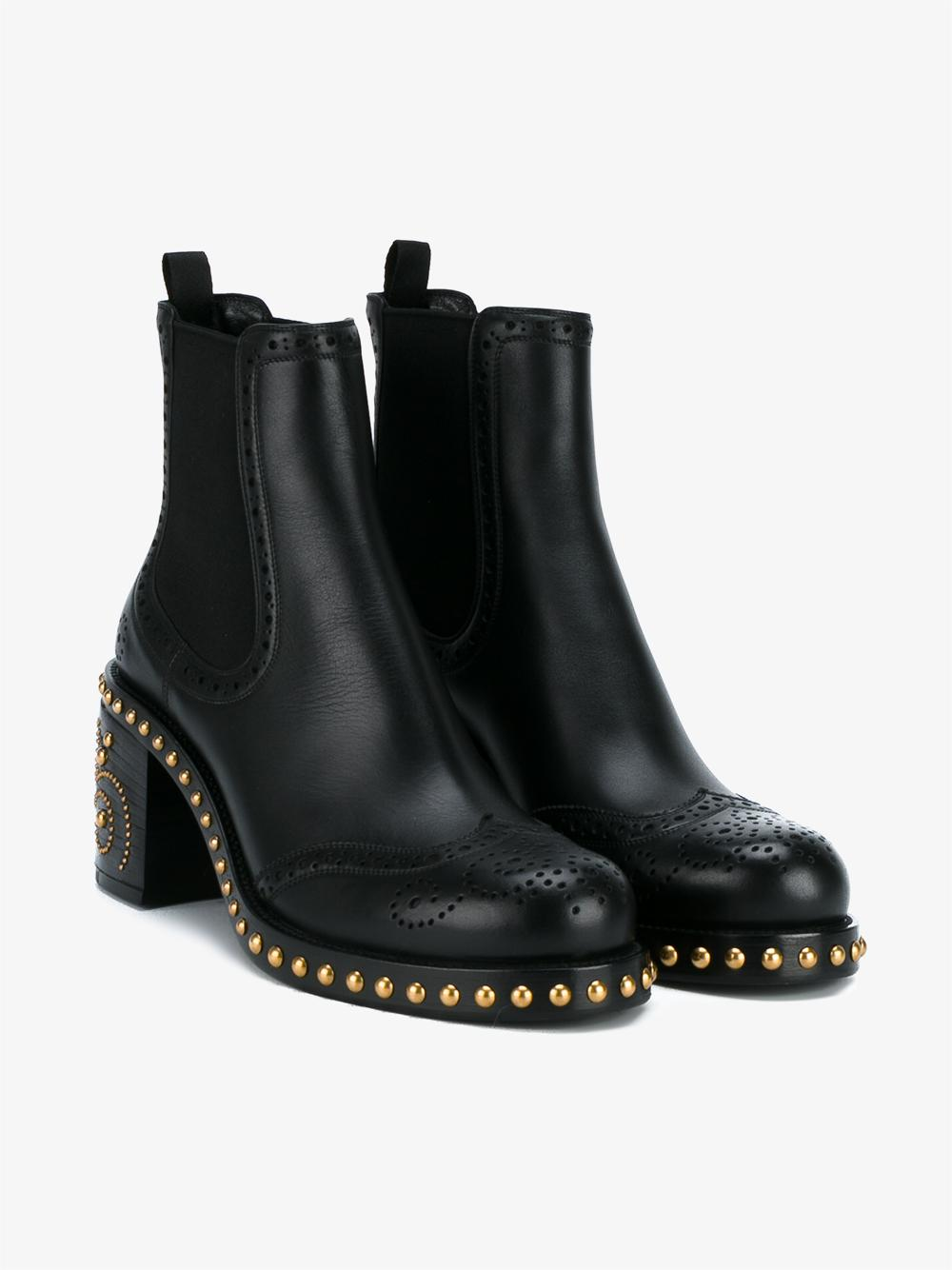 Miu Miu Studded Leather Chelsea Boots In Black Lyst
