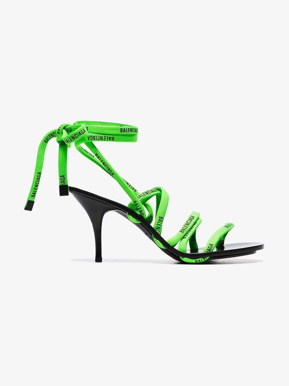 4993d2f4c9aa Balenciaga - Green And Black 110 Logo Laces Cotton And Leather Sandals -  Lyst. View fullscreen