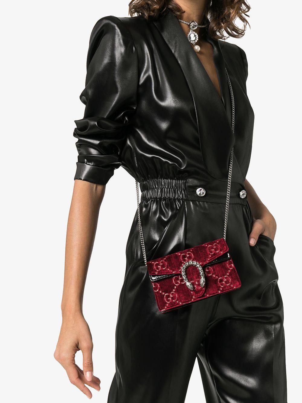 79b4fa2c52d Lyst - Gucci Dionysus Gg Velvet Super Mini Bag in Red