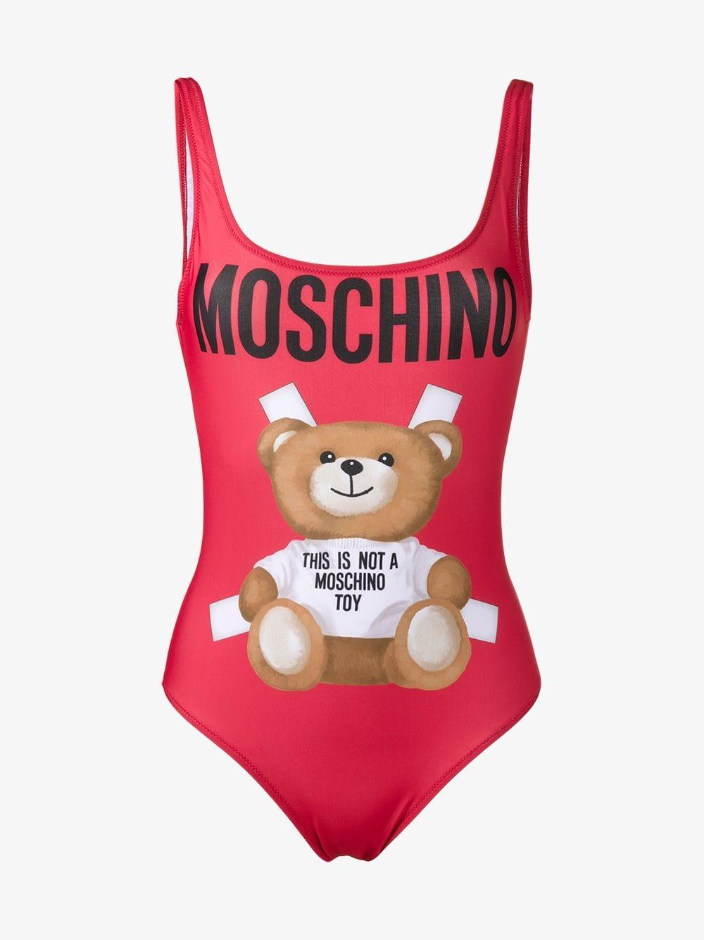 71c9a4abb2aba Moschino Teddy Bear Swimsuit in Red - Lyst