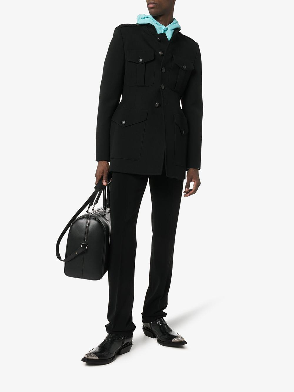 2361e4fa30678 Lyst - Balenciaga Black Santiago Steel Capped Leather Boots in Black for Men