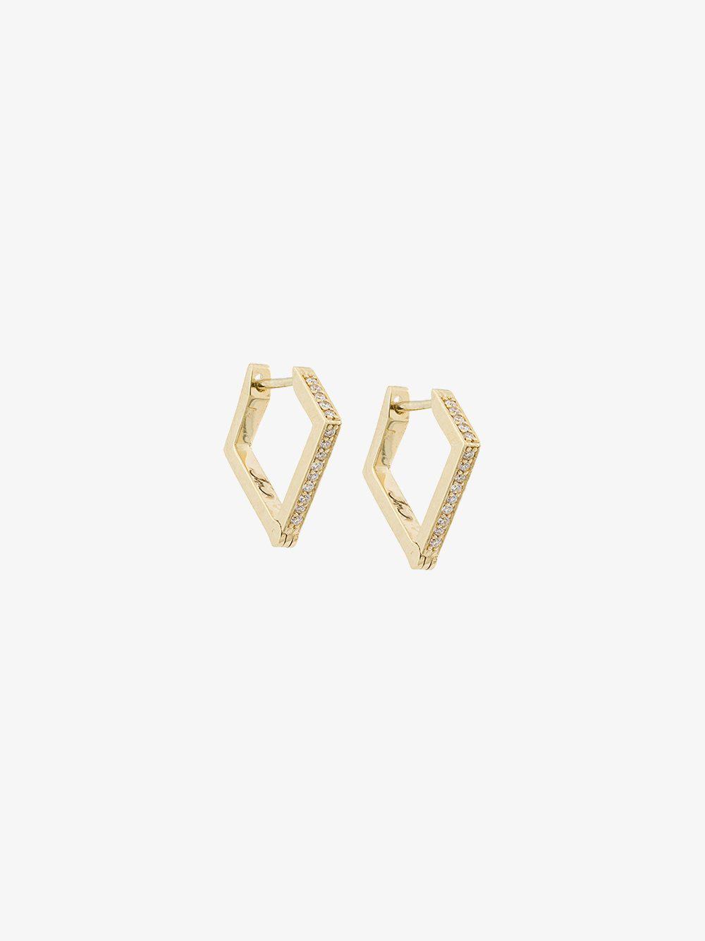 Lizzie Mandler Trillion diamond pave stud earrings - Metallic jimBg