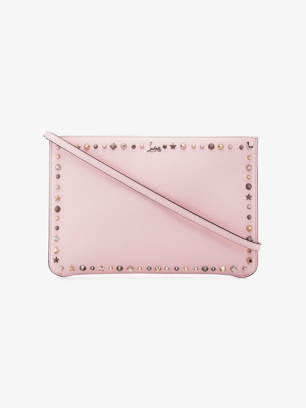 7ed66c3e112c Lyst - Christian Louboutin Pink Empire Spike Embellished Leather Clutch in  Pink - Save 2.1212121212121247%