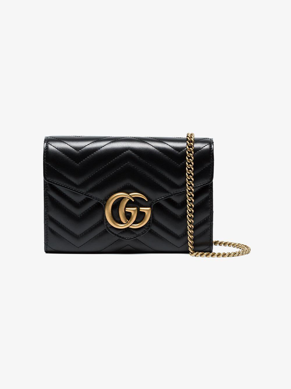 d0cd02873100 Gucci Black GG Marmont Matelassé Mini Bag in Black - Save 8% - Lyst