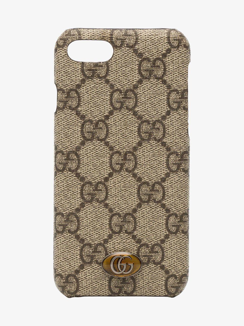 ba6caa124bbcfd Gucci Ophidia Iphone 8 Case in Brown - Lyst