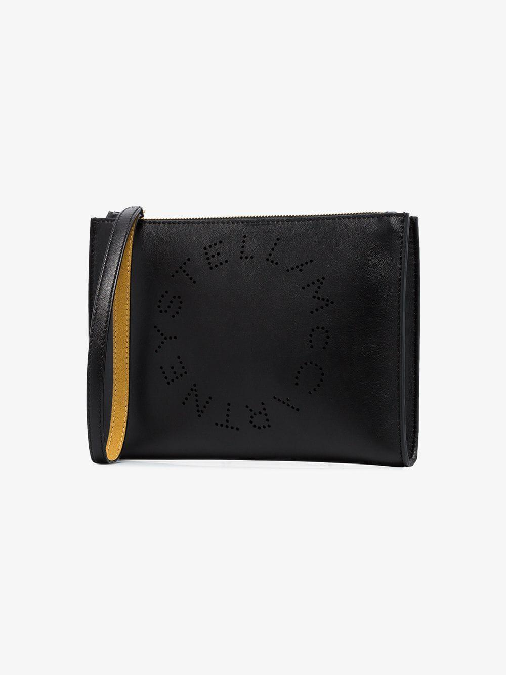 f41f4d44f3ee Stella Mccartney Black Stella Logo Perforated Faux Leather Clutch in ...