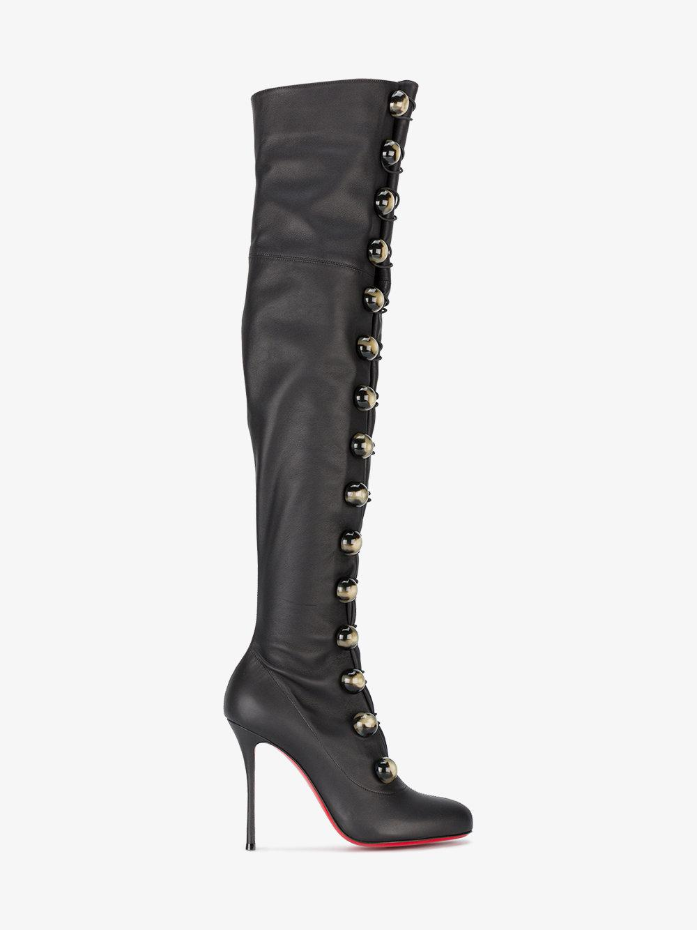 718b4c0aa6 Christian Louboutin Fabiola 100 Lace-up Thigh-high Boots in Black - Lyst