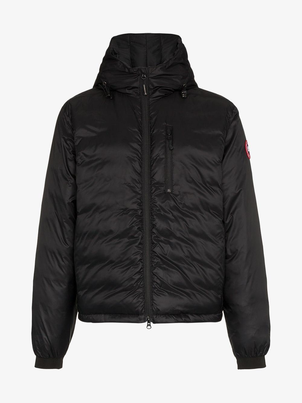 canada goose lodge hooded jacket in black for men lyst rh lyst co uk