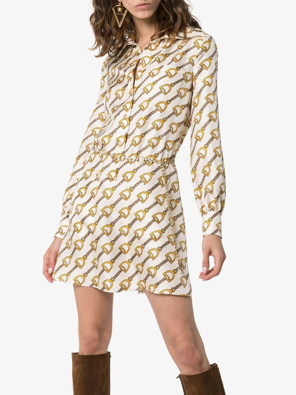 4fca390bd Gucci - Natural Silk Dress With Stirrups Print - Lyst. View fullscreen