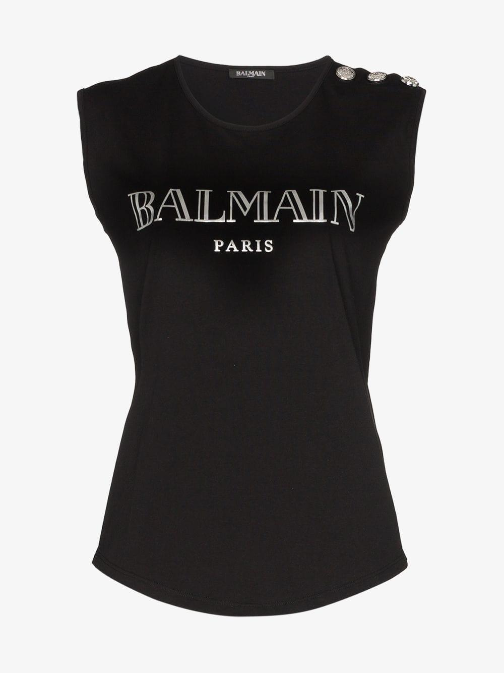 d5e3c971 Balmain - Black Logo Print Button-embellished Sleeveless Cotton T-shirt -  Lyst. View fullscreen