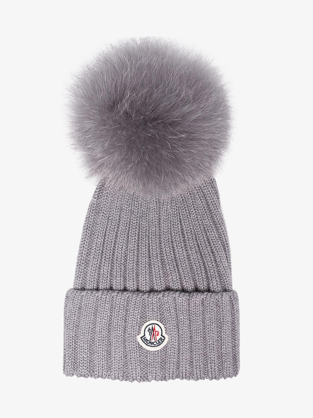 b3c18499e Moncler Grey Wool Beanie Hat With Pom Pom in Gray - Lyst