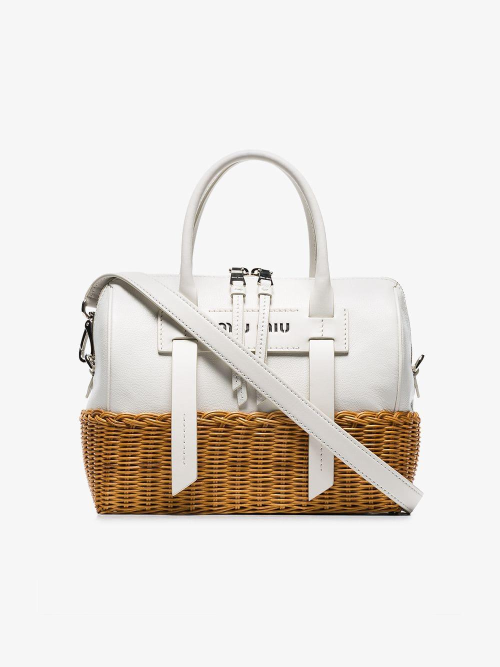 Miu Miu - White Wicker And Madras Bag - Lyst. View fullscreen f8e97b7068fb1