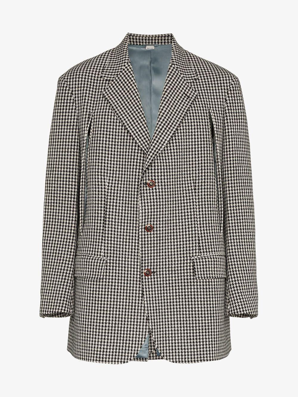 a51d8fb31cf2 Gucci - Black Check Slit Wool Cashmere Blend Jacket for Men - Lyst. View  fullscreen