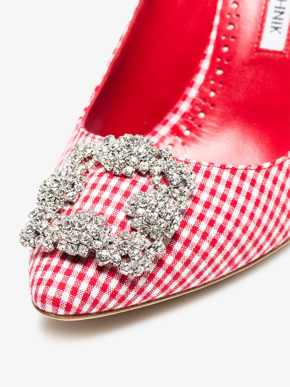 white and red Hangisi 90 gingham cotton pumps Manolo Blahnik For Sale Cheap Authentic Cheap Best Place Buy Cheap 2018 Unisex 6fMdkF