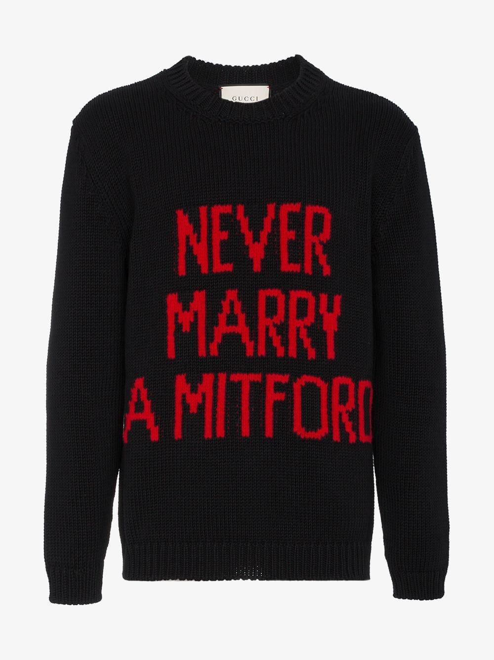 e26da090067 Gucci Never Marry A Mitford Cotton Sweater in Black for Men - Save 10% -  Lyst