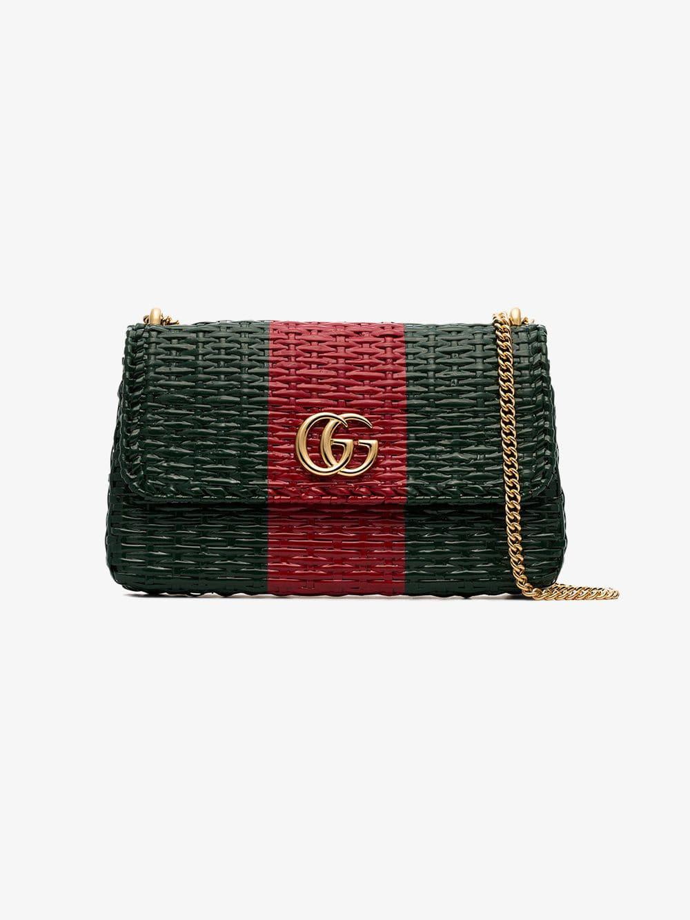 44c21cb38ad Lyst - Gucci Green And Red Web Straw Small Shoulder Bag in Green