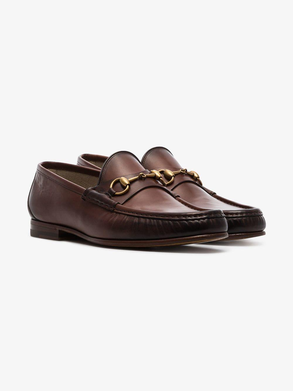 f2f44e8d007 Lyst - Gucci Brown 1953 Horesbit Leather Loafers in Brown for Men