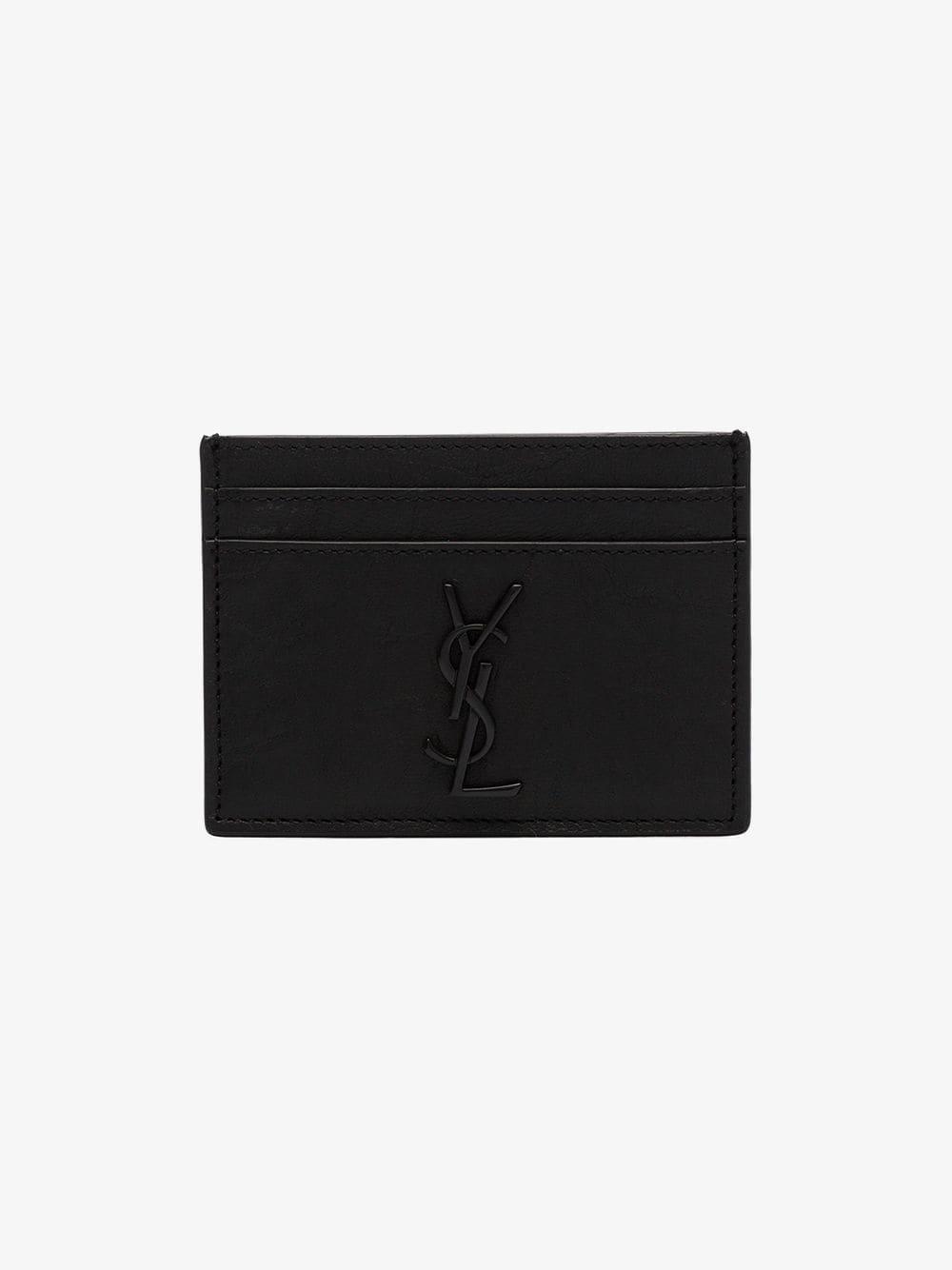 54d345df026 Saint Laurent Black Crocodile Embossed Leather Cardholder in Black ...