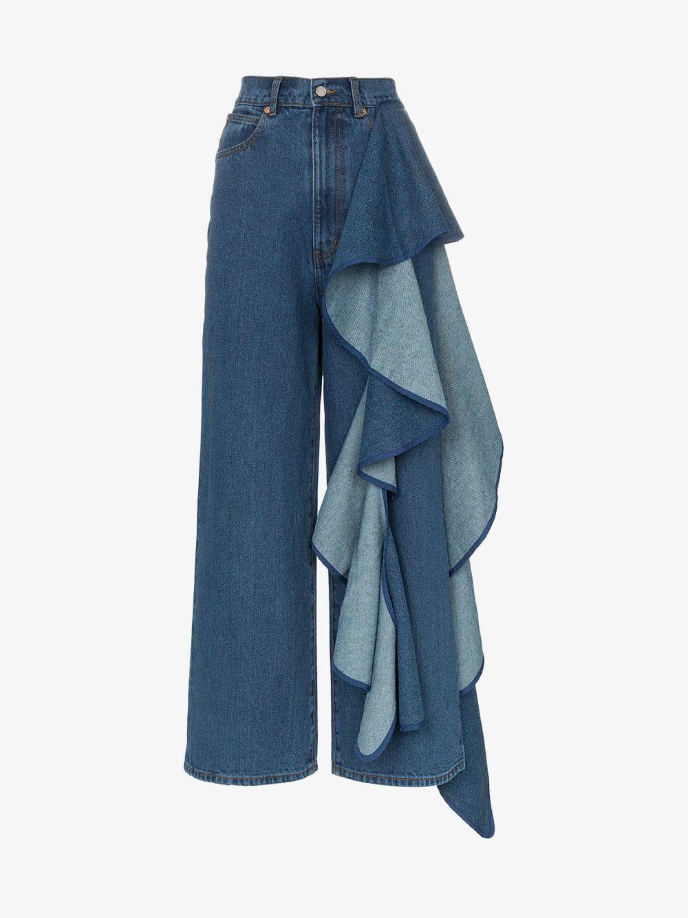 cad2aa744384 Solace London. Women s Blue Tay High-waisted Wide Leg Ruffle Detail Jeans
