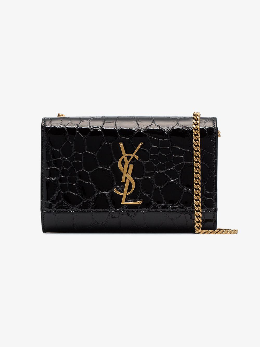c7fcb2a6bd Saint Laurent. Women s Black Kate Small Crocodile Embossed Leather Shoulder  Bag