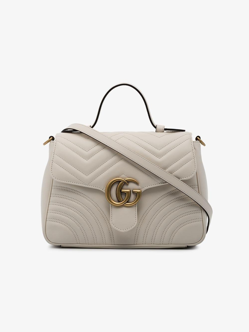 c7015eb958ae Lyst - Gucci Gg Marmont Small Top Handle Bag in White