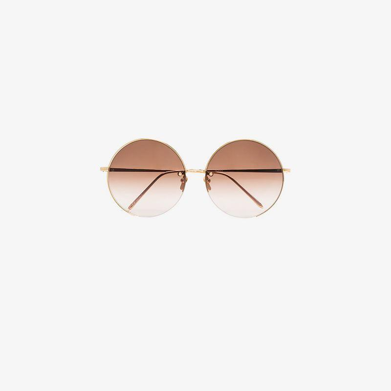linda farrow gold and brown 343 c6 round sunglasses in metallic lyst Ray Bans view fullscreen