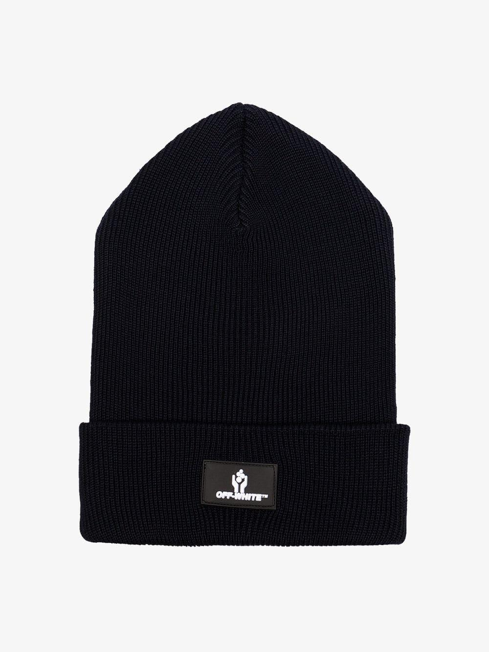 552fe26a3ad78 Off-White c o Virgil Abloh - Black Logo Knitted Wool Beanie Hat for. View  fullscreen