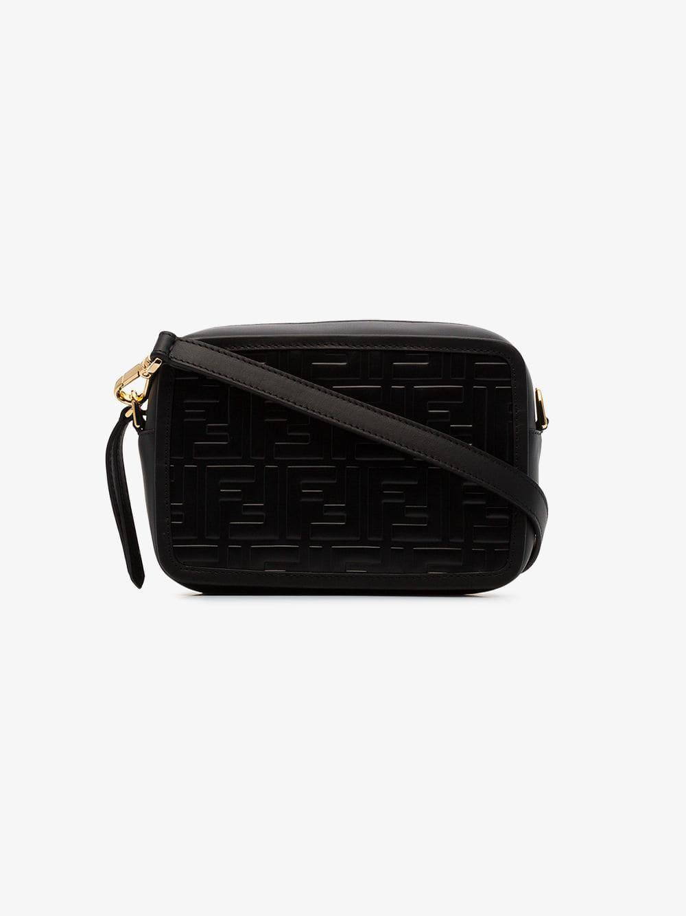 5870947527c1 Lyst - Fendi Black Logo Embossed Mini Leather Camera Bag in Black