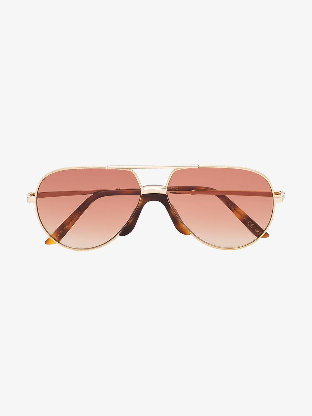 4f12c949eac7 Gucci Eyewear Gold GG0432S 002 Aviator Metal Sunglasses in Brown for Men -  Lyst