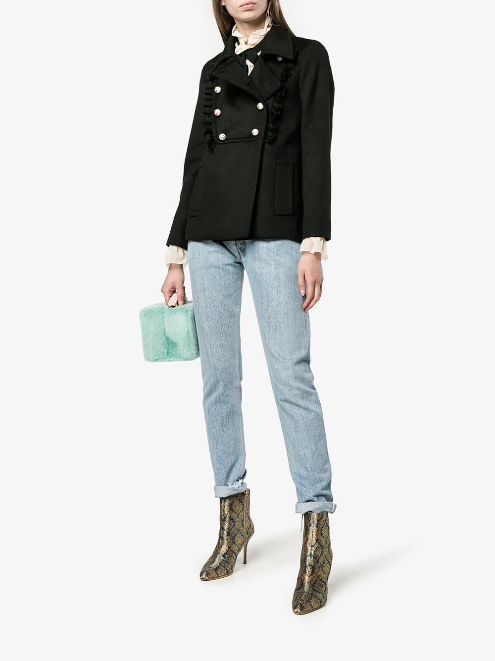 69a094210 Lyst - Gucci Ruffle Detail Jacket in Black - Save 40%