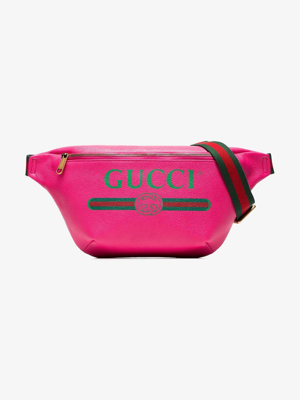 bcfbdd2c8bee8 Lyst - Gucci Print Leather Belt Bag in Pink for Men