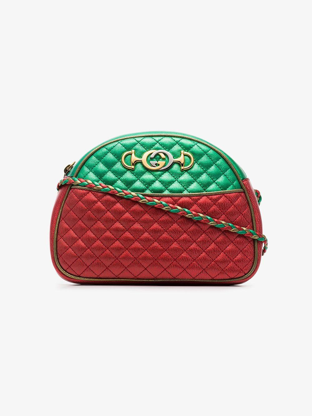 9224d114533 Gucci. Women s Red And Green Trapuntata Quilted Metallic Leather Cross Body  Bag
