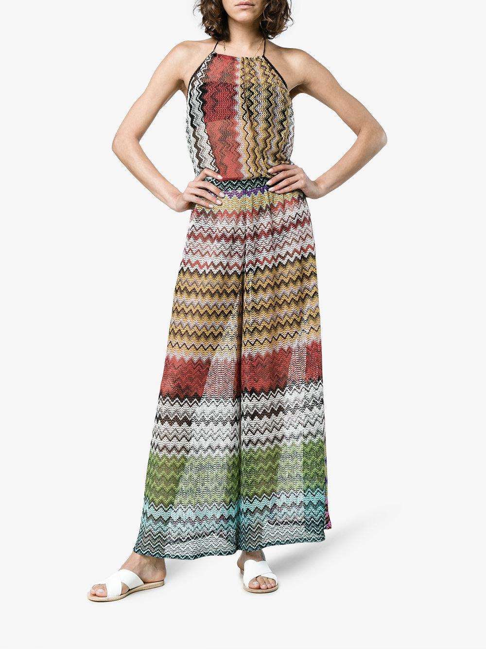 8c4b54d868e Lyst - Missoni Mare Halterneck Zig Zag Knitted Jumpsuit