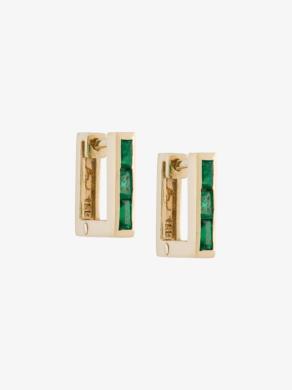 Lizzie Mandler petit square emerald Huggies earrings QLXMu7SEIM