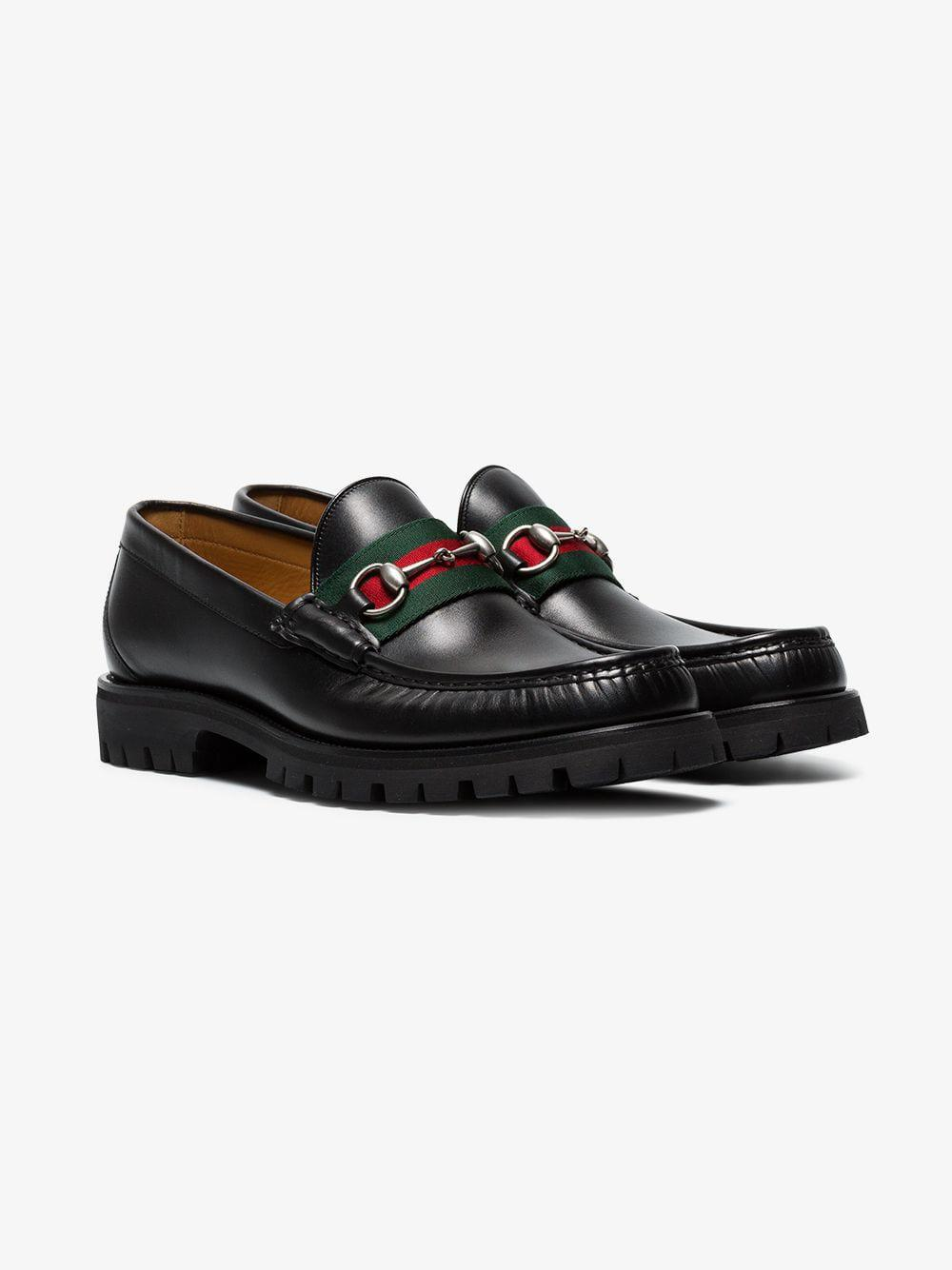 3da8861eb71 Lyst - Gucci Leather Web Horsebit Loafers in Black for Men - Save 2%