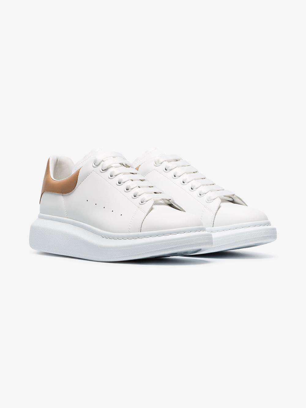 4593b6454c87 Alexander McQueen. Men s White Cappuccino Detail Chunky Leather Sneakers