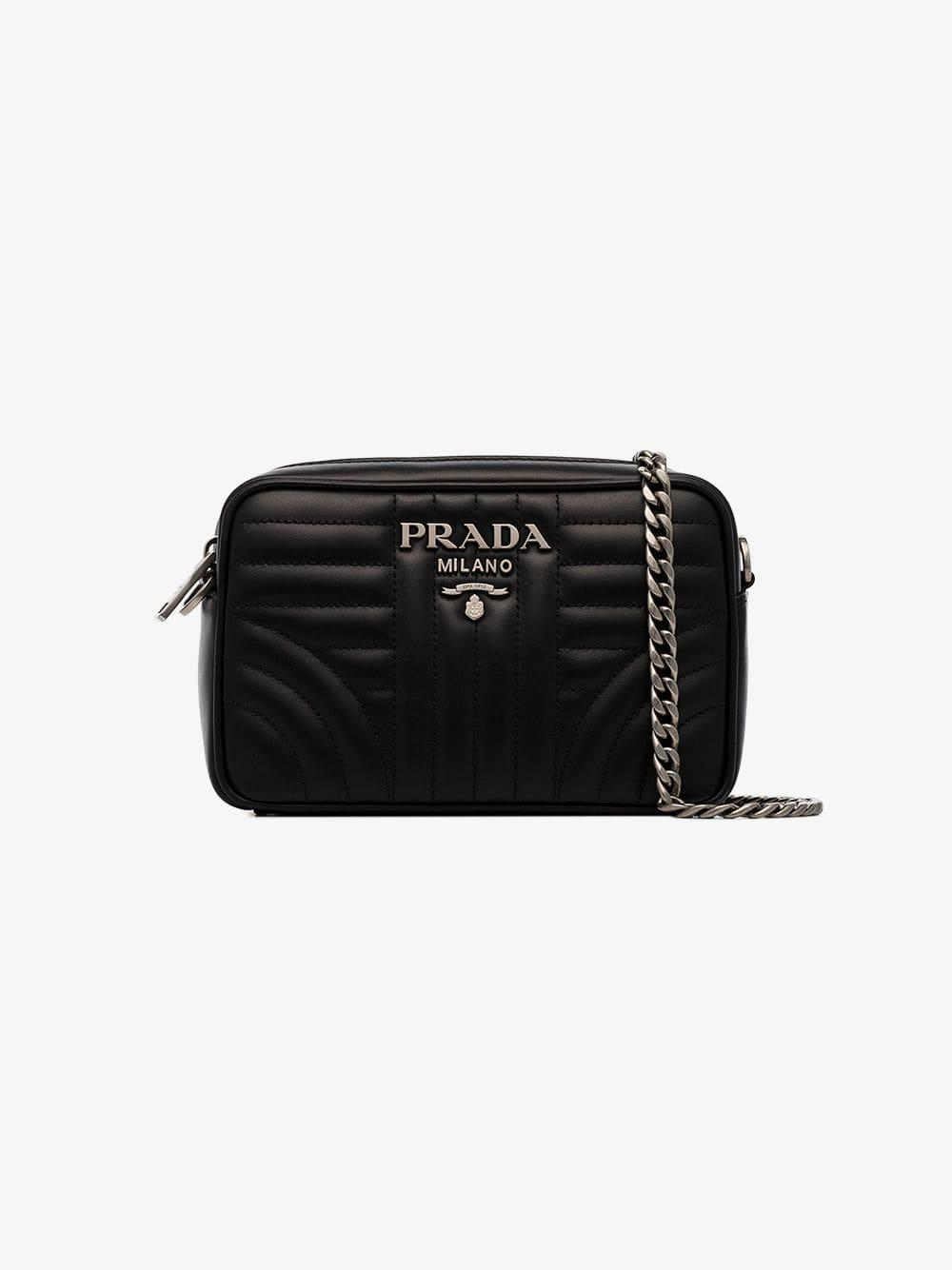 1f1a32b115d7be Lyst - Prada Black Diagram Small Quilted Leather Cross Body Bag in Black