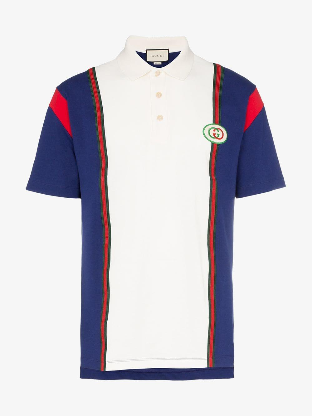 757054a5d85 Gucci - Blue Polo With Interlocking G Patch for Men - Lyst. View fullscreen