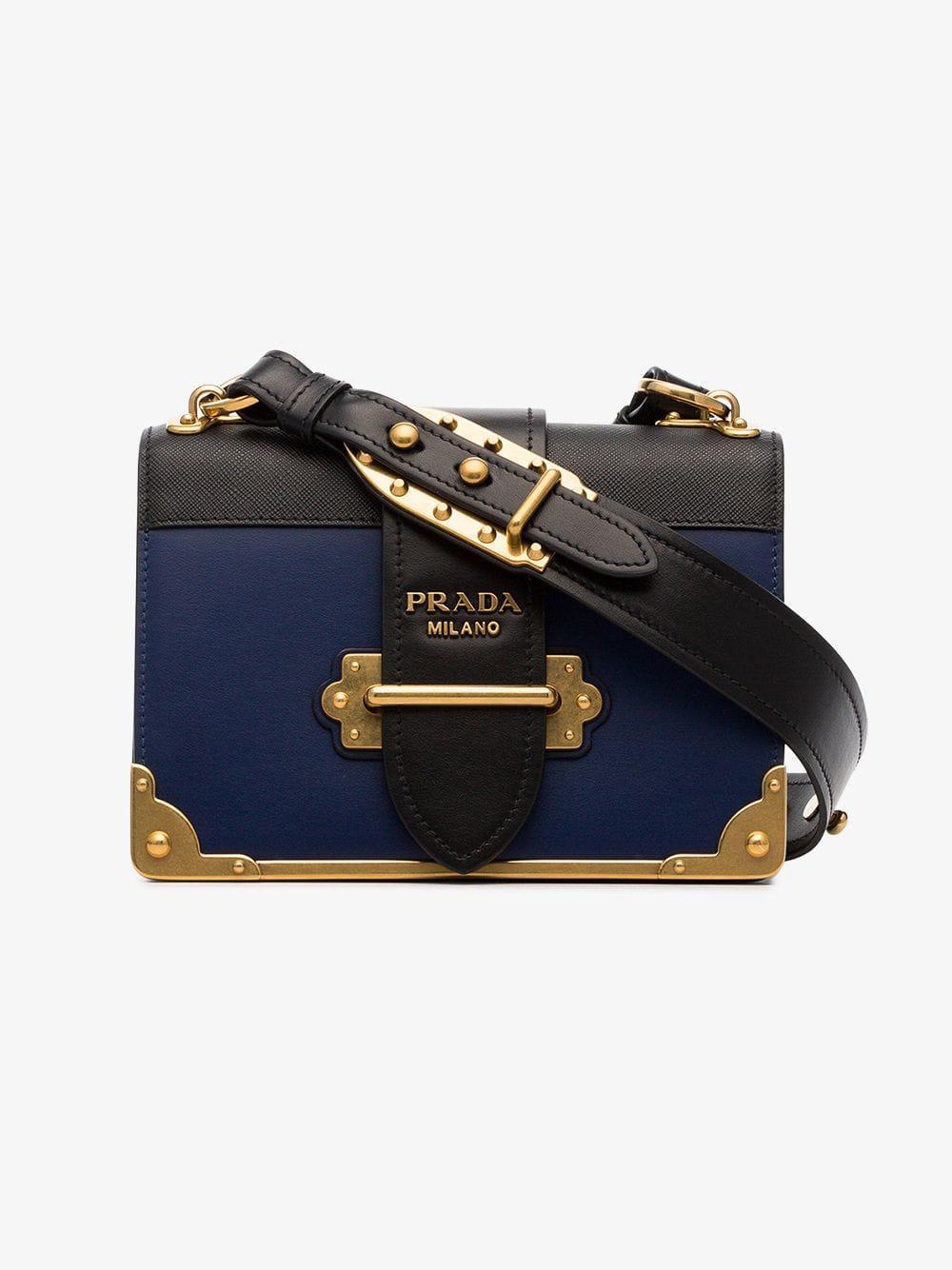 0ef2c9ffdf9e Lyst - Prada Cahier Leather Shoulder Bag in Blue