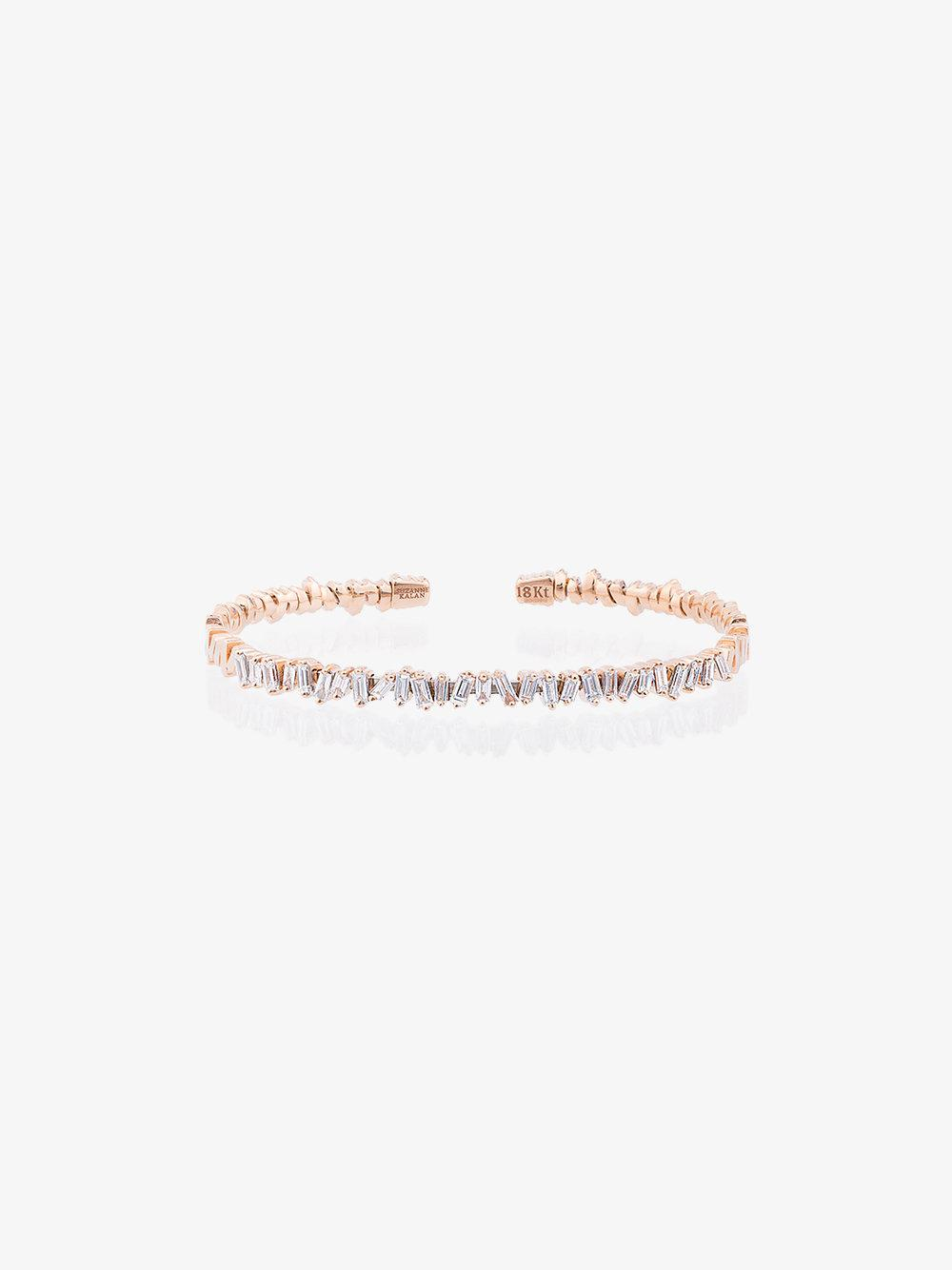 Suzanne Kalan 18K Rose Gold and diamond Fireworks Classic Baguette Bangle 4vtQxH