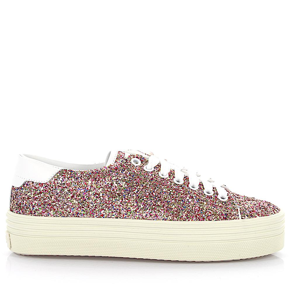 Sneaker calfskin smooth leather textile Glitter multicoloured white Saint Laurent Yk2Ox