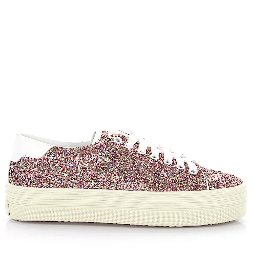 Sneaker calfskin smooth leather textile Glitter multicoloured white Saint Laurent YnaDn