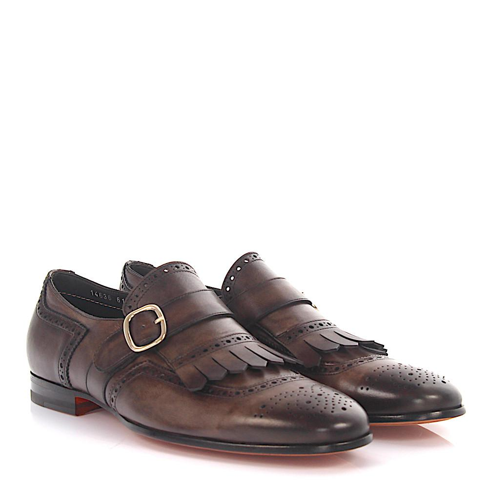 Recommend Cheap Online Single-Monk-Strap 14636 brogue leather blue soft fringes hand-sewn Santoni Discount Low Price rMqVqocw2b
