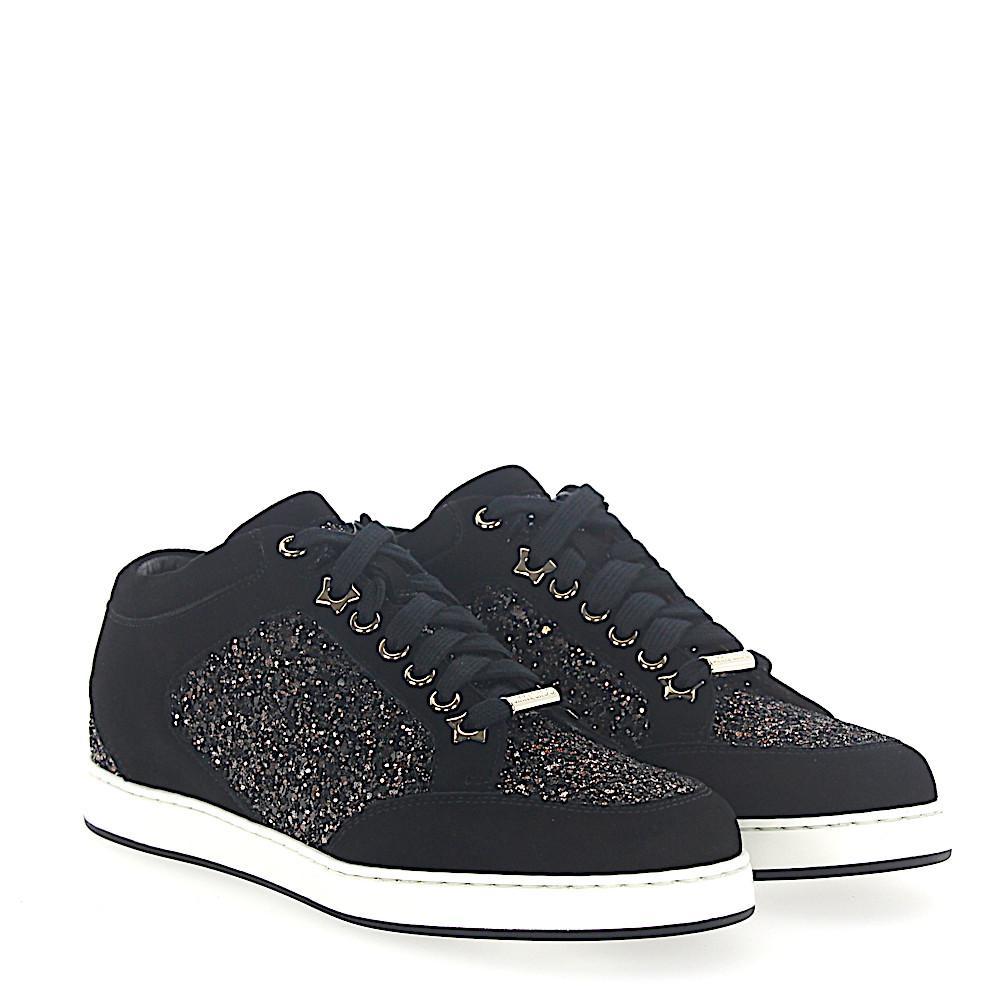 Sneaker MIAMI suede textile Glitter Logo black bronze Jimmy Choo London 74XUj