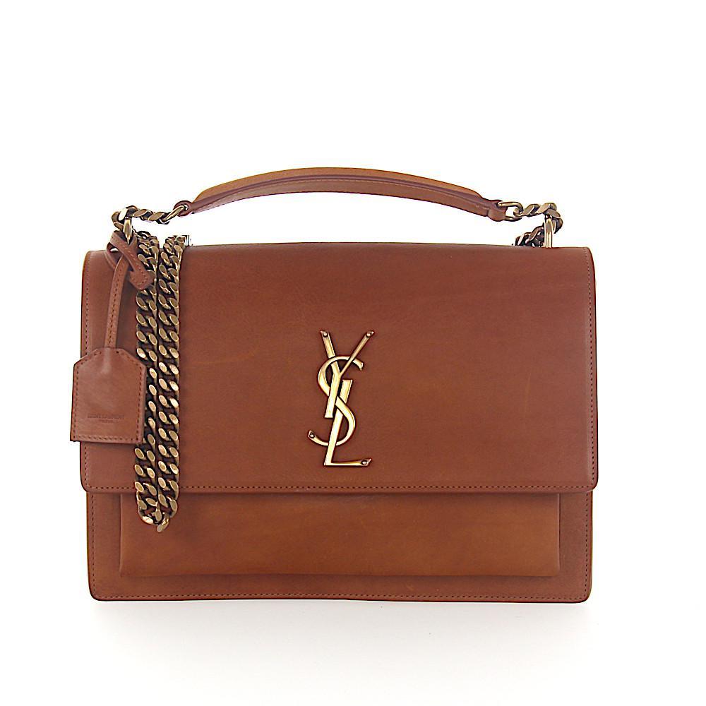 f7b1c0e59b Lyst - Saint Laurent Shoulder Bag Leather Brown Ysl-logo in Brown